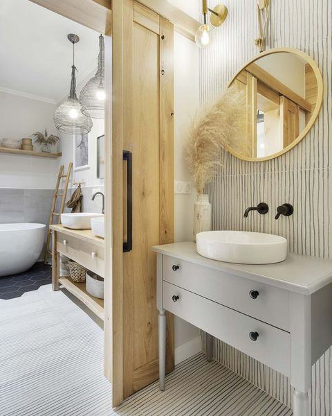 a Nordic style country house double bathroom