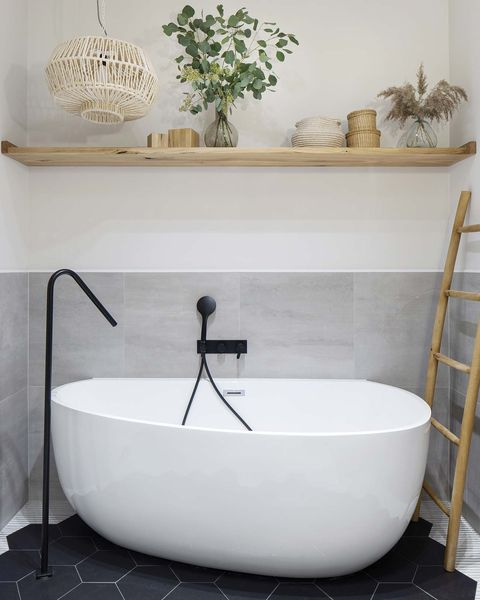 a Nordic style country house freestanding bathtub