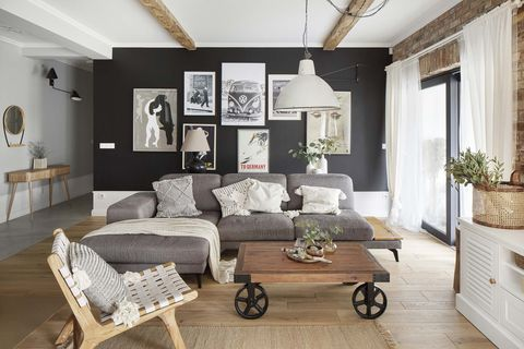 a nordic style country house living room with gray wall